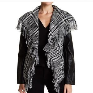 Guess houndstooth fringed faux leather jacket